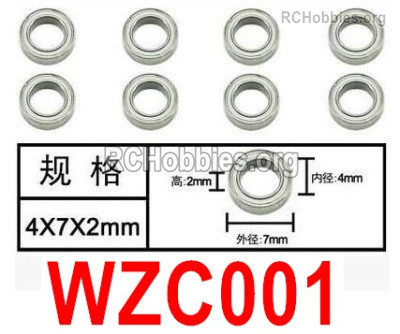 Subotech BG1525 Ball bearings Parts. WZC001. With a size of 4X7X2MM. Total 8pcs.